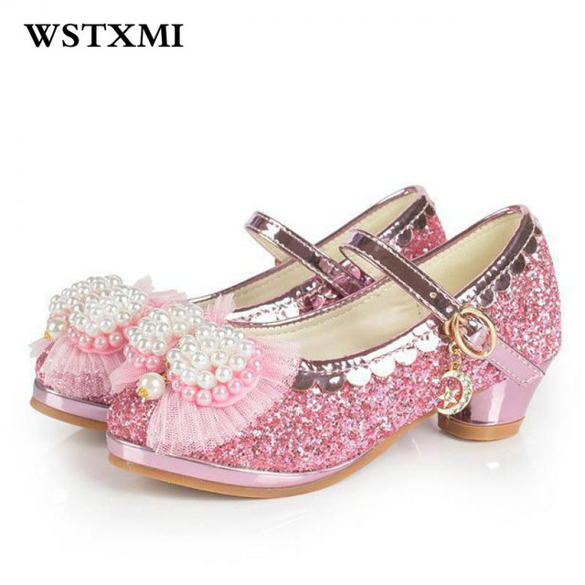 56b30fde54ec69 New Brand Children Sandals For Flower Girls Princess High Heel Noble Weddings  Dress Party Shoes Crystal