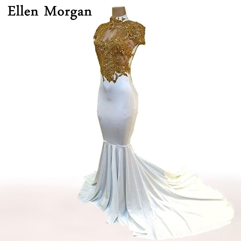 High Neck Mermaid   Prom     Dresses   for African Black Girls with Gold Lace ApplIques Short Sleeve Sexy Special Occasion Party Gowns
