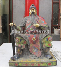 xiuli 00877 14″China collect Red Copper Cloisonne Guan Yu Guan Gong hold knife seated statue