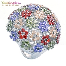 ФОТО yunkingdom full pave flower colorful cubic zirconia ball style fine rings for womens banquet party queen jewelry big ring gift