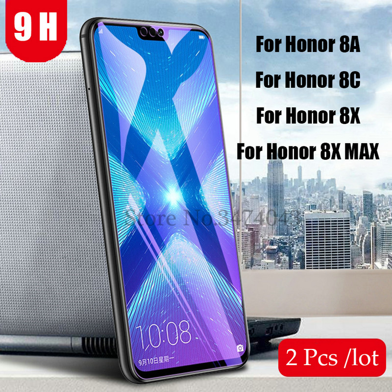 2Pcs/lot Tempered Glass For Huawei Honor 8A 8X 8C Screen Protector Full Cover Glass For Huawei Honor 8C 8X MAX Protective Film