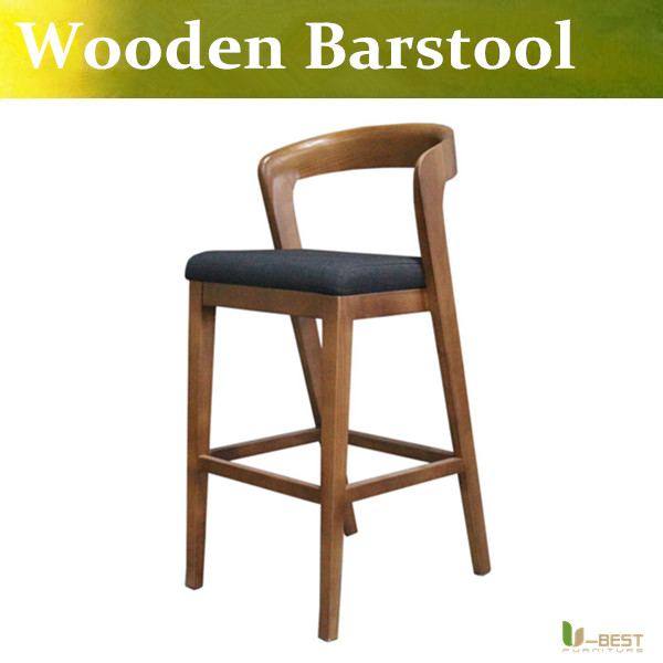 U Best High Quality Wooden Bar Stool With Back Rest High Chair Retro Counter Stool For Modern Home