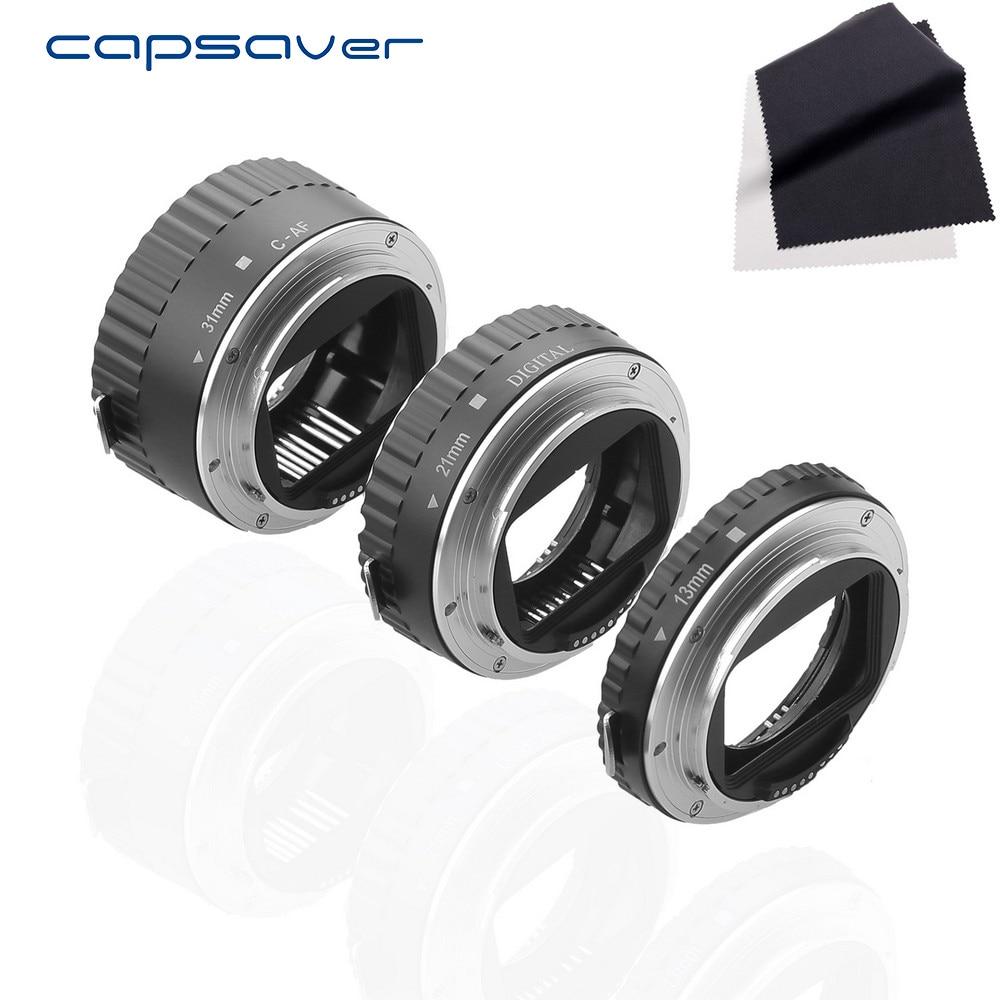 Capsaver MET-C6 Métal Autofocus AF Macro Extension Tube Anneau pour Canon EOS Macro Photographie Lentille Adaptateur Ensemble avec Lentille tissu