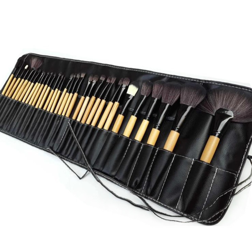 Natural 32pcs Professional Soft Cosmetic Eyebrow EyeShadow Makeup Brush Pouch Bag Case New