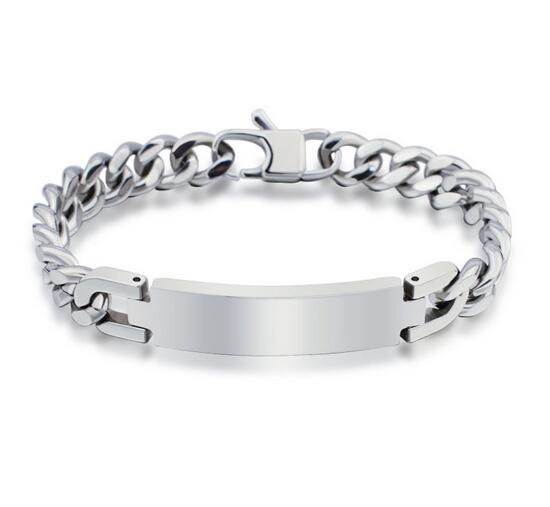 Personality Blank Stainless Steel Plate Chain Bracelet Engraved Men In Bangles From Jewelry Accessories On Aliexpress Alibaba Group