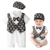 Для маленьких мальчиков летняя одежда для маленьких мальчиков с принтом короткий рукав Комбинезоны для малышек новорожденных Цветочный жи...