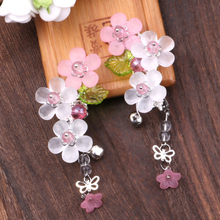 1 pc Vintage Cherry Blossom Tassel Antique Hair Clips  Hanfu Bride Wedding Jewelry Handmade clip