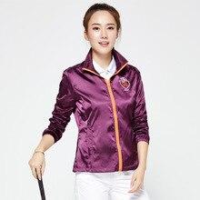 Осенне-зимняя куртка для гольфа для женщин, ветрозащитная ветровка на молнии с длинным рукавом, дышащая одежда для гольфа D0689