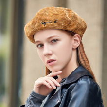 MIARA.L New alphabet embroidered chenille beret casual fashion octagonal hat women versatile pumpkin
