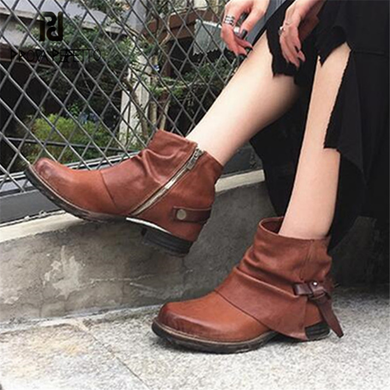 Prova Perfetto Brown Ankle Boots for Women Straps Genuine Leather Rubber Short Botas Mujer Female Platform Martin Boots