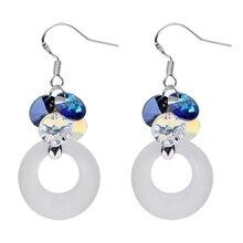 925 Sterling Silver for Women Drop Earrings Austria Crystal Earring Circle HipHop Rock Earrings Party Fashion Jewelry Earrings