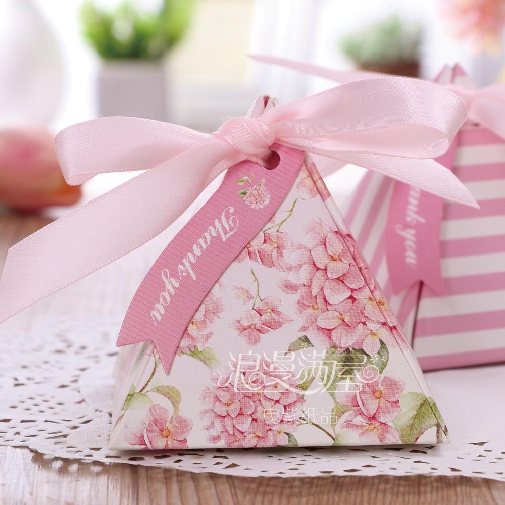 20pcs Triangular romantic beautiful Pink flower candy box wedding ...