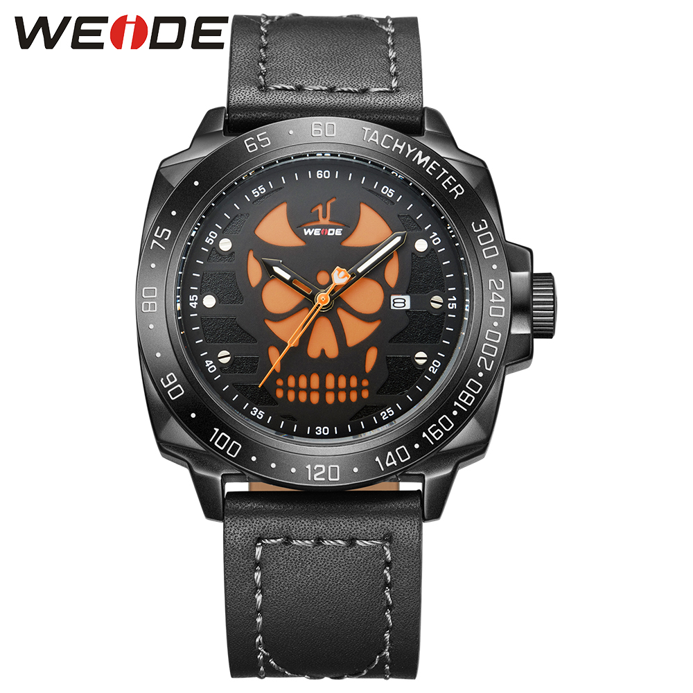 WEIDE Brand Men Casual Quartz Date Calendar Buckle Waterproof Genuine Leather Strap Military Analog Clock Sports Wristwatch weide men watches clock analog quartz movement calendar date black leather strap band buckle hardlex wristwatches for sport