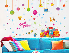 New Year christmas decorations for home wall stickers home decor diy wall decals adesivo de parede natal