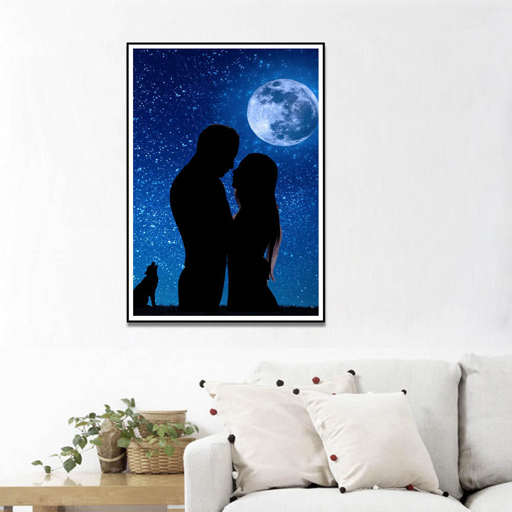 Unframed HD Canvas Prints Lovers Embraced Under The Moon Art Painting Prints Wall Pictures For Living Room Wall Art Decoration