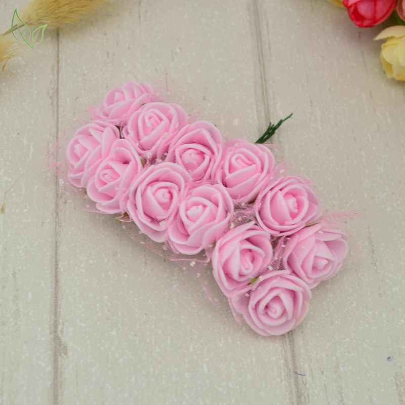 12 قطعة ورد ورد صناعي بولي ايثيلين رغوة الزهور الاصطناعية رخيصة ل ديكورات منزلية لحفل الزفاف لتقوم بها بنفسك إكليل هدية صندوق سكرابوكينغ إبرة