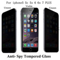New  Anti Peeping Spy privacy screen protective film for iphone 5 5c 5s 6 6s 7 plus 0.3mm 2.5d  9H Anti Peep Tempered Glass Film