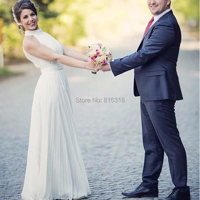 Halter Chiffon Boho Wedding Dress Floor Length Simple Vintage Beach Cheap  WEdding Dress hippie wedding gown vestido de casamento e9277d66f9ad