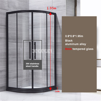 High quality Household Bathroom Shower Enclosures Aluminum Alloy Shower Room Simple Shower Cabins 6mm Tempered Glass Shower Room