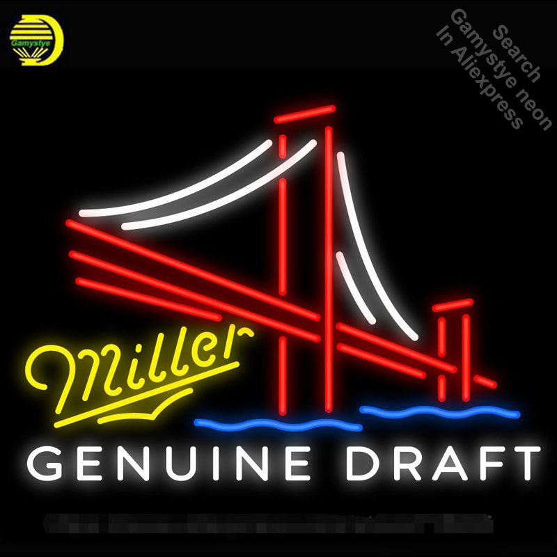 NEON SIGN For Miller Genuine Draft Golden Gate Bridge BAR PUB Club Room display Restaurant Shop Light Signs neon signs for sale