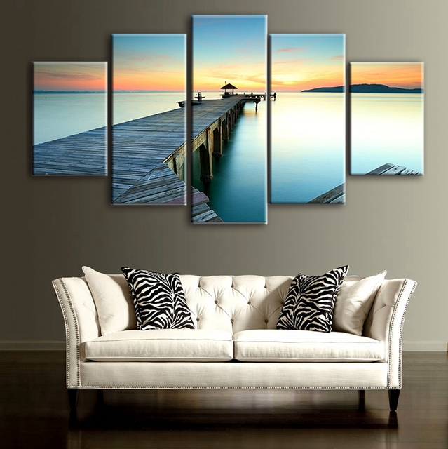 5 panels canvas art gift the stack of wood sunset painting wall art