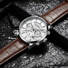 CUENA שעוני גברים עור אמיתי ידיים זוהרת תאריך סטופר שעון Man קוורץ שעונים עמיד למים 30 M גברים אופנה שעונים 2018