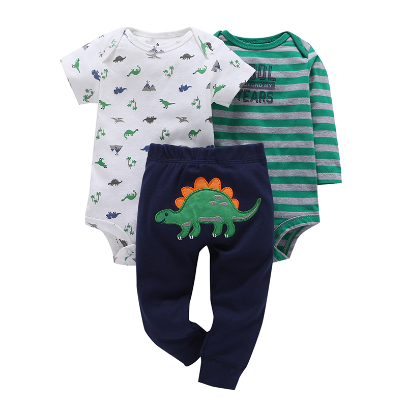 2018 new infant baby boy clothes cotton green stripe romper dinosaur model+pants 3pcs cute newborn baby girl outfit costume