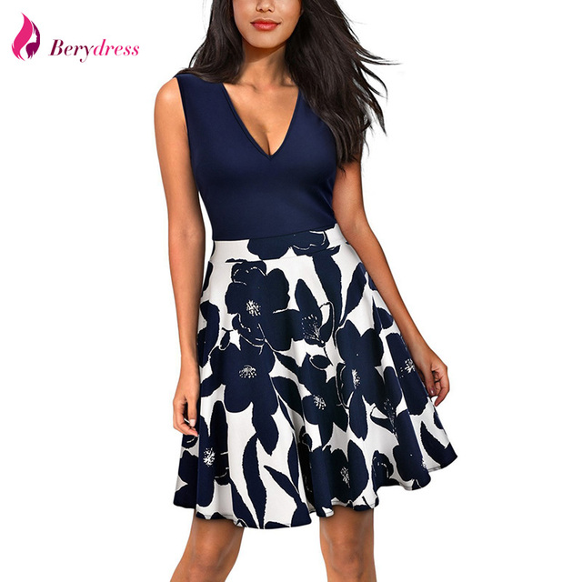 f202139d3bcf Berydress Women Party Swing Dress Mini A-Line V-neck Sexy Low Back  Sleeveless Patchwork Floral Print Casual Skater Dress Short