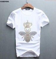2017 Men Time Limited Promotion O Neck No Luxury Diamond Design Short Sleeve Tshirt Cotton Tops