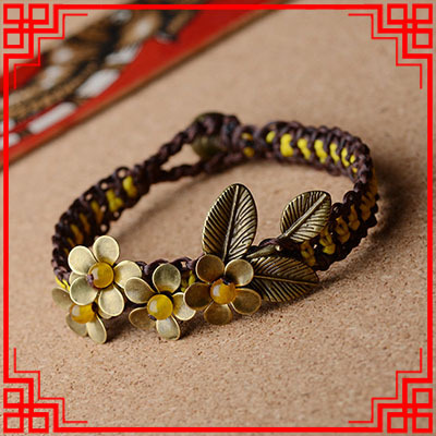 New National Thailand Ethnic Jewelry Copper Flowers Yellow