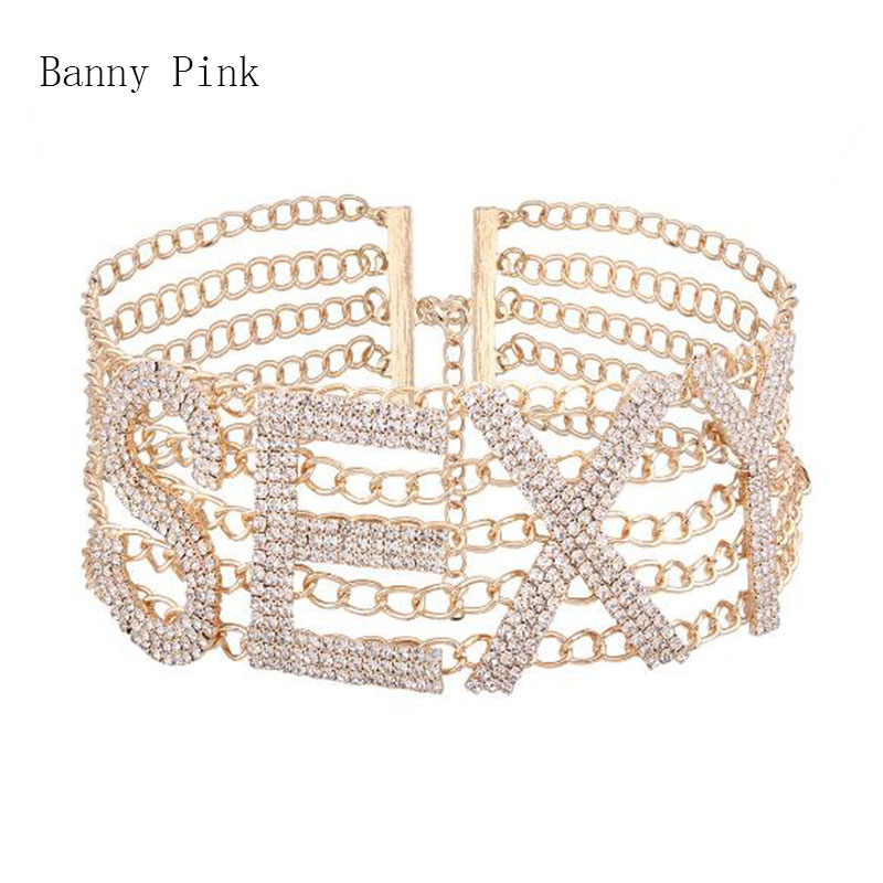 Chunky Sexy Rhinestone Chain Choker Necklace For Women Cute Crystal Layer Chain letter Choker Collar Fashion Jewelry Colliers