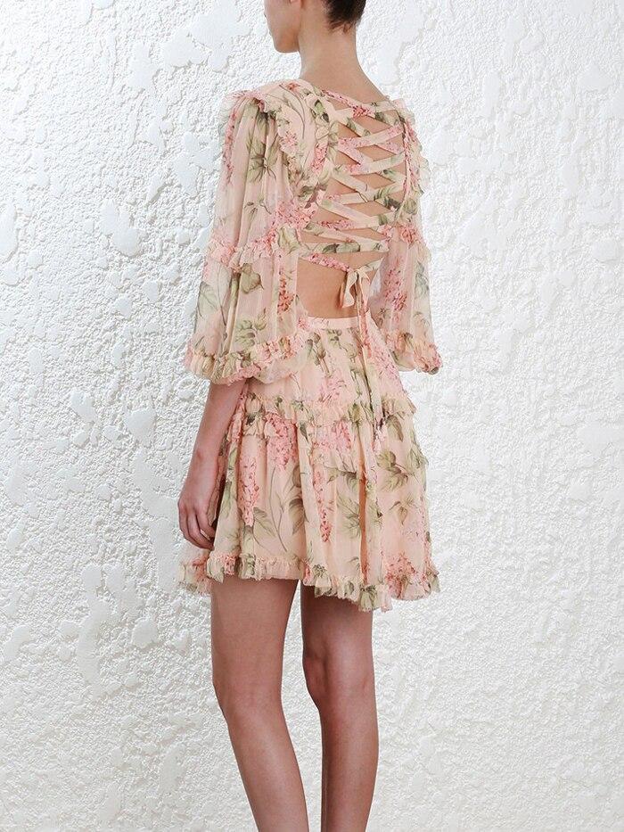 19 New summer beach mini dress woman spaghetti strap cross backless sexy deep v print bodycon vestidos fashion short dress 8