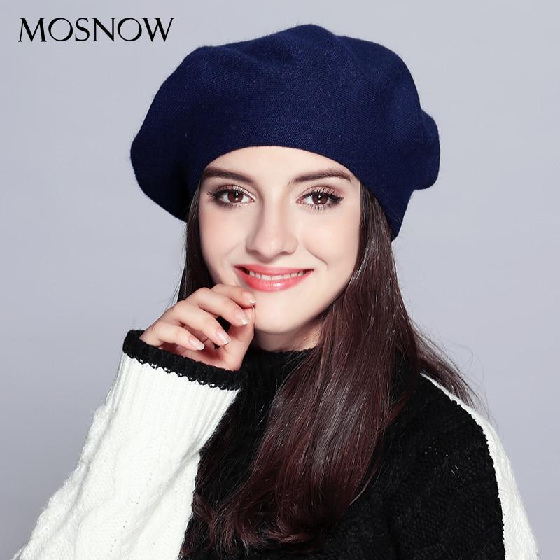 MOSNOW Donne Berretto di Moda Del Cappello Per L inverno Femminile Lavorato  A Maglia di Cotone Cappelli di Lana Cap Cappelli di Autunno di trasporto  2017 di ... 0e7c696ec60e