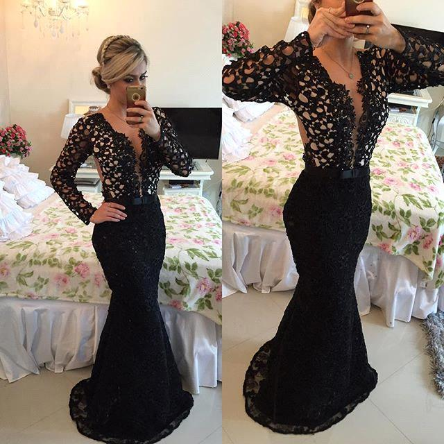 Sexy Prom Dresses Mermaid Lace Long Party Dresses Black Long Sleeves