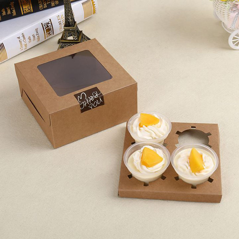 4pcs cups cake box, cattle cardboard zakka ,brown kraft boxes,cake paper box 6pcs*4 wholesale
