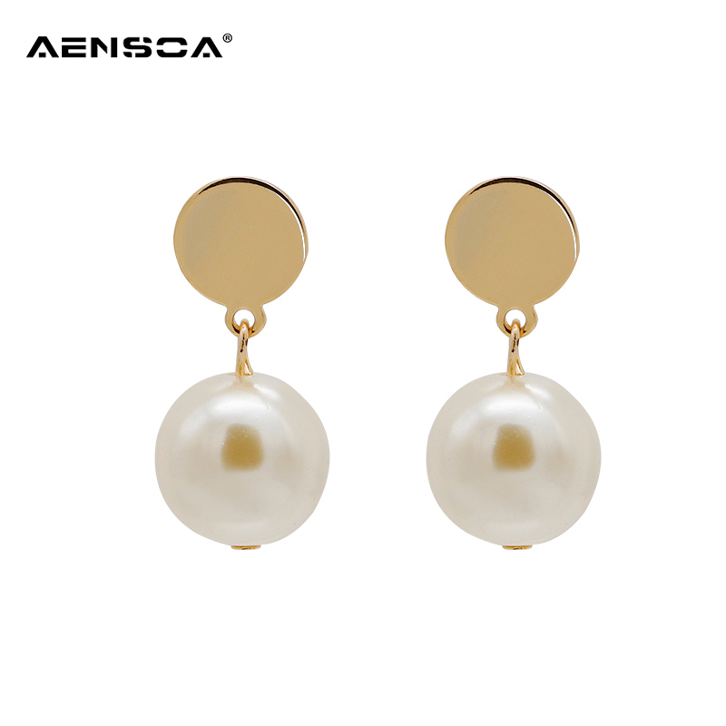 AENSOA White Gray Ball Alloy Earrings Personality For Women Pearl Geometric Drop Earrings Gifts New Fashion Jewelry Pendientes