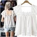 Más el Tamaño 5XL Gasa Blusas Mujer de Encaje de Ganchillo Collar del Cuadrado Blanco Blousas Camisas Streetwear Tops de Verano Feminino