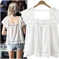 Plus Size 5XL Chiffon Blouses Women Lace Crochet Square Collar White Shirts Streetwear Blousas Summer Tops Feminino