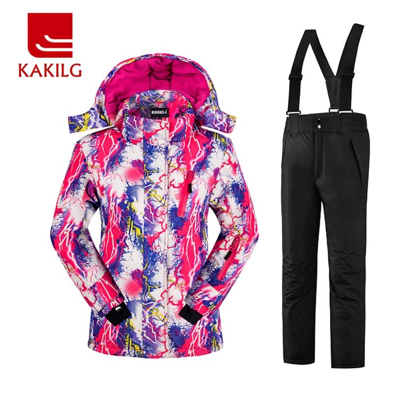 Prix pour Hiver Ski Costume Femmes Vêtements Coupe-Vent Imperméable Ski de Femmes Costumes Veste Pantalon de Ski Motoneige Vestes Survêtement KL70WS