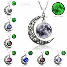 Luminous Crescent Moon Necklace Nebula Planet Pendant Jewelry Glow In The Dark Fashion for Girl Valentines Gifts