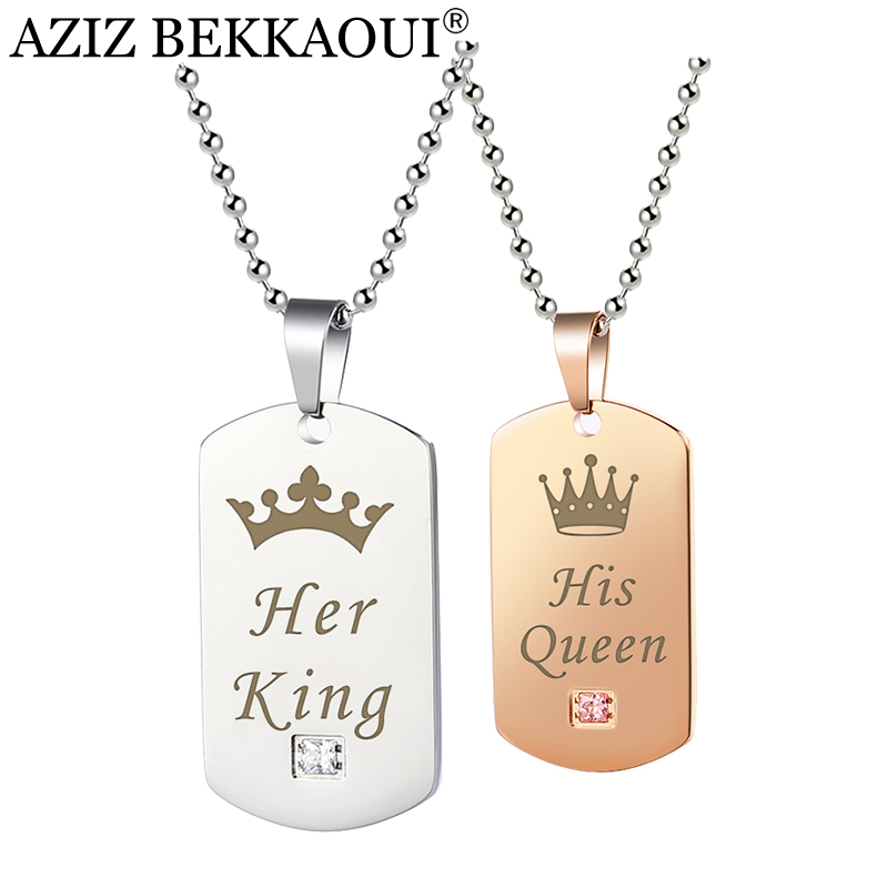 AZIZ BEKKAOUI Paar Halsketten Ihr König & Seine Königin mit Krone Silber Farbe Edelstahl Tag Anhänger Halskette Dropshipping