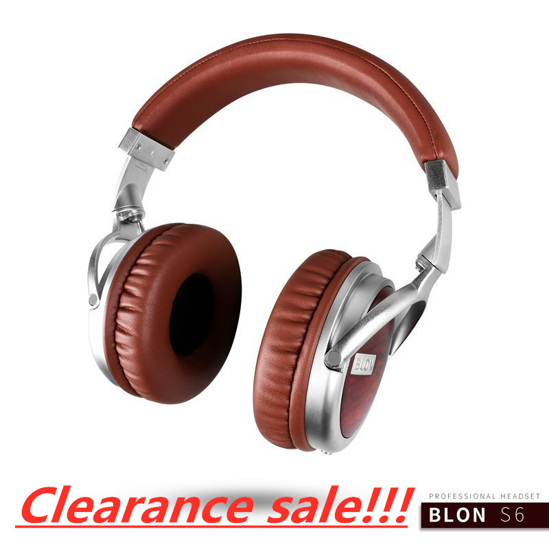 BLON Headphone Hi FI Wooden Dynamic Earphone Studio Monitor PC Phone Audio Headphones DJ Metal Headset