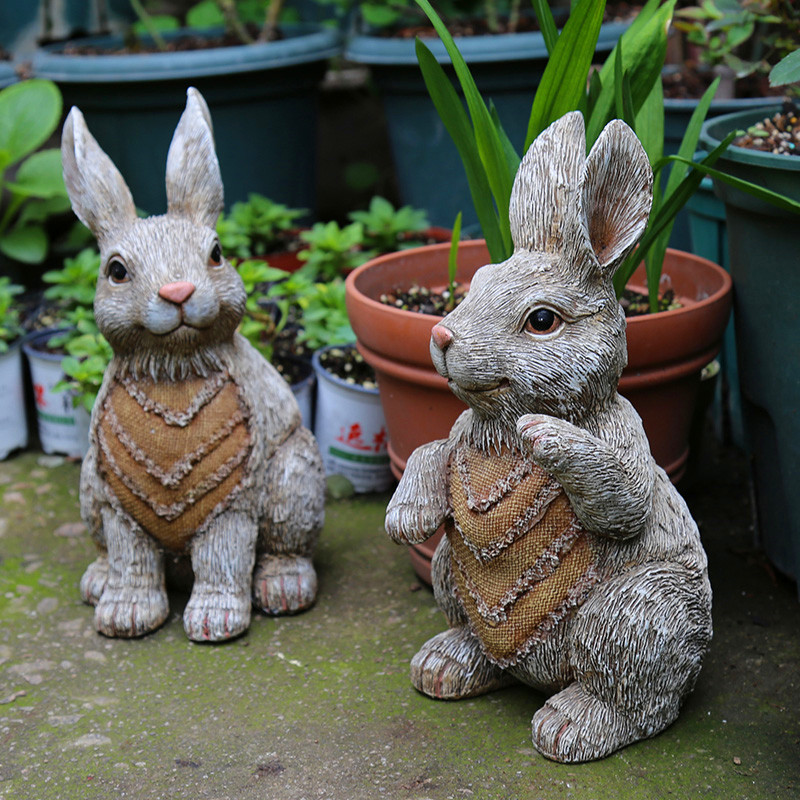 Resin Art Decoration Cartoon Sculpture Decoration Simulation Animal Rabbit Garden Decoration Outdoor Oraments
