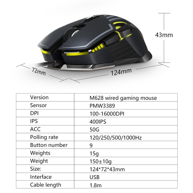 Delux M628 PMW3389 Sensor 16000 DPI Gaming Mouse 9 Buttons 50G ACC RGB Wired Optical Both Hands Mice with Weight set For Gamer 6