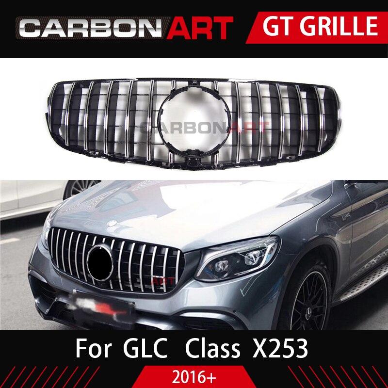 GLC X253 Front Racing Mesh Grill for Mercedes X253 GLC200 GLC250 GLC300 GlC450 Sport Version Silver 2017+