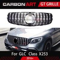 GLC X253 спереди Гонки сетки гриль для Mercedes X253 GLC200 GLC250 GLC300 GlC450 Спорт версия серебро 2017 +