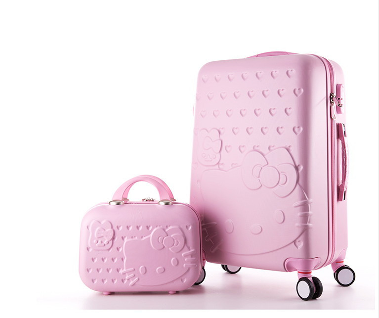 цена на Hello Kitty lady luggage suitcase trolley travel bag bag trolley wheels women luggage wheels travel box 20-28inch abs luggage