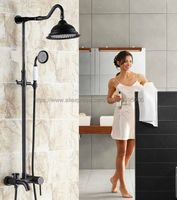 Black Rain Shower Faucets Antique Brass Tub Shower Faucet with 8 inch Shower Head + Hand Shower Brs626