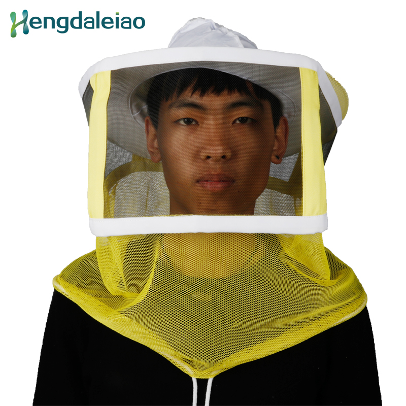 HDPH-002 Hot Sale 100% Cotton One-piece Beekeeping Hat with Yellow Veil for Beekeeper