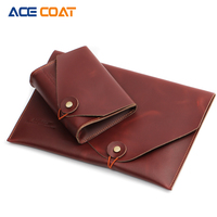 ACECOAT Split Leath Laptop Sleeve Case Bag With Handle Pockets For MacBook Air Pro 13 Retina